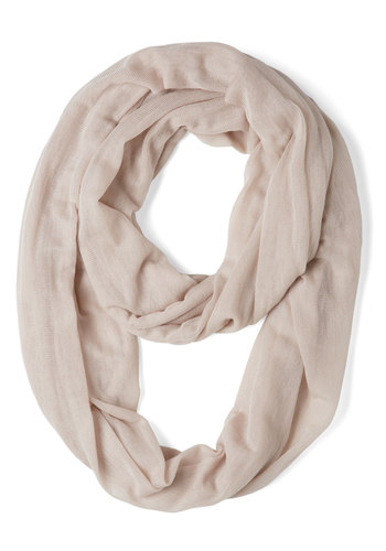 Come Full Circle Scarf in Taupe - Cream, Solid, Minimal, Cotton, Sheer
