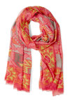 Print the Town Scarf - Yellow, Print, Cotton, Sheer, Pink, Orange