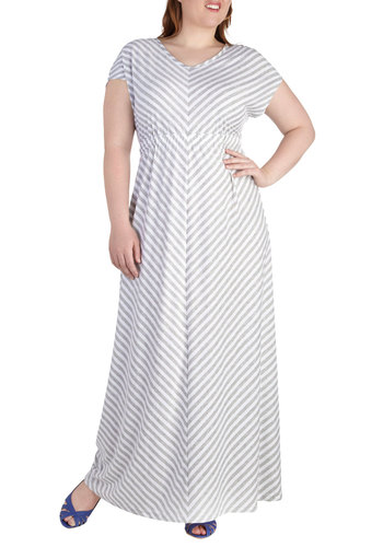 Easygoing Get Together Dress in Plus Size - Grey, White, Stripes, Casual, Maxi, Short Sleeves, V Neck, Chevron, Summer, Exclusives