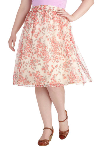 Sway for Tea Skirt in Plus Size - Pink, Tan / Cream, Floral, Work, Daytime Party, Graduation, A-line, Spring, Summer, Exclusives