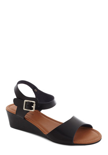 As Good as Neutral Wedge in Black - Low, Black, Solid, Minimal, Summer, Wedge, Work, Casual, Daytime Party, Faux Leather, Variation, Flat