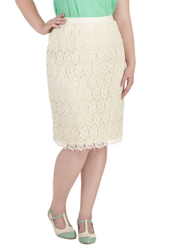 Wine Tasting Weekend Skirt in Plus Size - Cotton, Cream, Crochet, Lace, Work, Daytime Party, Pencil, Spring, Exclusives, Lace