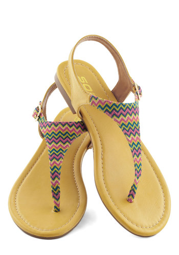 Quite a Campsite Sandal - Flat, Faux Leather, Beach/Resort, Boho, Summer, Multi, Yellow, Chevron, Casual