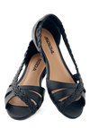 Twist Family Robinson Sandal in Midnight - Flat, Faux Leather, Black, Solid, Braided, Peep Toe, Casual, Variation, Summer