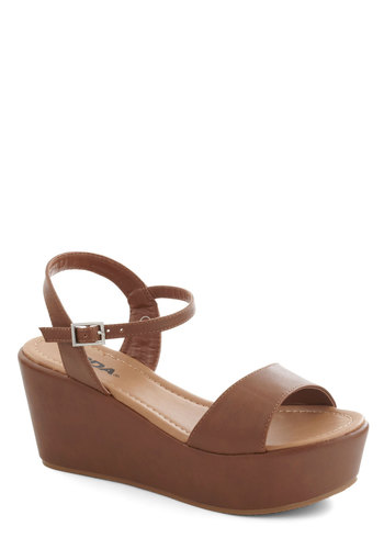 Simple Joys Sandal - Mid, Tan, Solid, Platform, Wedge, Boho, Vintage Inspired, 60s, 70s, Minimal, Faux Leather, Summer, Beach/Resort