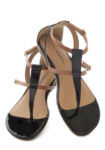 It Takes Two Tone Sandal - Flat, Black, Tan / Cream, Beach/Resort, Summer, Faux Leather