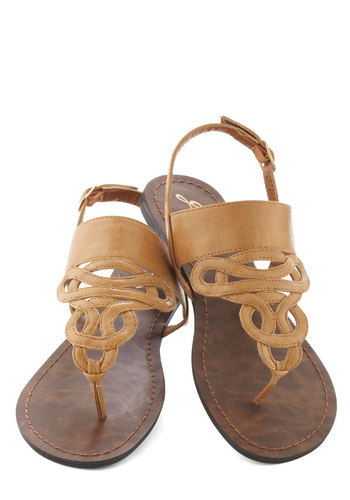Drizzle Castle Sandal in Tan - Flat, Faux Leather, Tan, Summer, Solid, Casual, Beach/Resort
