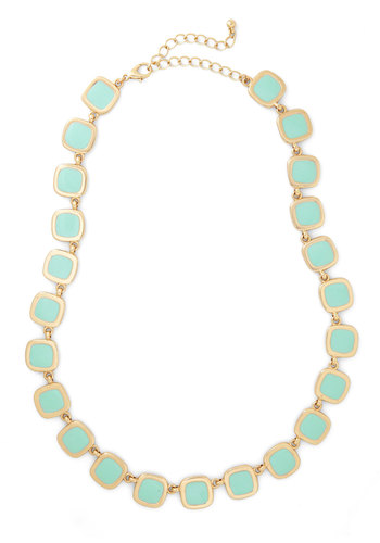 Emcee Squared Necklace - Pink, Gold, Solid, Pastel, Mint, Gold, 90s