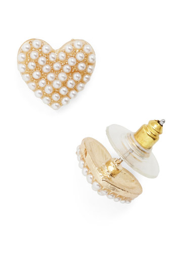 After Your Heart Earrings - White, Gold, Solid, Pearls, Fairytale, Gold, Valentine's