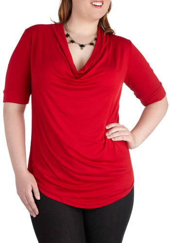 Easygoing Afternoon Top in Red - Plus Size - Red, Solid, Short Sleeves, Jersey, Party, Work, Casual, Minimal, Variation, Cowl, Exclusives