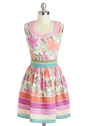 Garden Party Darling Dress - Pastel, Cotton, Mid-length, Multi, Floral, Buttons, Crochet, Party, A-line, Sleeveless