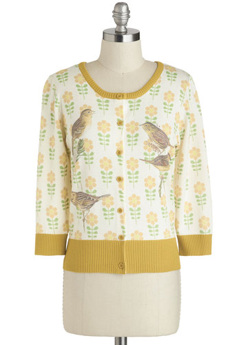 Birds to Live By Cardigan by Knitted Dove - Multi, Green, Brown, White, Floral, Print with Animals, Buttons, Work, 3/4 Sleeve, Mid-length, Yellow, 60s