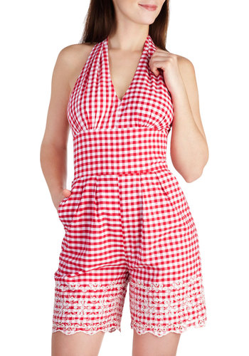 Take a Picnic Romper - Red, White, Checkered / Gingham, Embroidery, Casual, Pinup, Vintage Inspired, Halter, Cotton, Long, Pockets, Rockabilly, 50s, Summer, V Neck