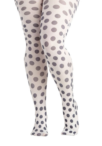 Dot to Have You Tights in Plus Size by Look From London - Sheer, White, Black, Polka Dots, Statement, Quirky