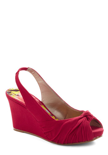 Red or Knot Sandal - Red, Solid, Daytime Party, Mid, Wedge, Slingback, Party, Peep Toe, Summer, 60s