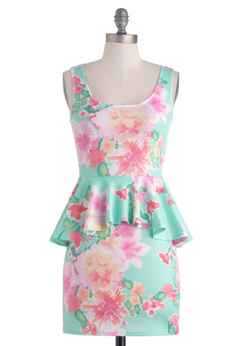 Oahu's That Lady? Dress - Pastel, Short, Floral, Party, Peplum, Tank top (2 thick straps), Scoop, Multi, Vintage Inspired, 80s, Mini, Summer