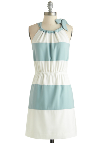 Style Guidepost Dress - Mid-length, Blue, White, Stripes, Bows, Party, Sheath / Shift, Sleeveless, Crew, Summer