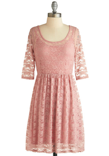 Rosewater Cupcakes Dress - Sheer, Pink, Solid, Lace, Casual, A-line, 3/4 Sleeve, Scoop, Short, Summer