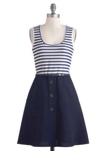 Stories of Sailing Dress - Cotton, Mid-length, Blue, White, Stripes, Buttons, Belted, Casual, Nautical, A-line, Tank top (2 thick straps), Scoop, Exposed zipper, Pockets, Twofer, Spring, Summer