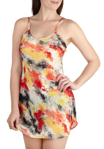 Forever and Ember Nightgown - Print, Sheer, Cutout, Spaghetti Straps, Short, Multi, Red, Yellow, Tan / Cream, Black, Backless, Scoop