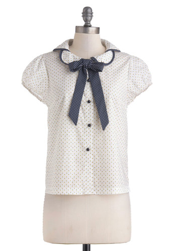 Work Buds Top - Cotton, Sheer, Mid-length, White, Yellow, Blue, Floral, Buttons, Peter Pan Collar, Tie Neck, Work, Vintage Inspired, Collared, Button Down, Cap Sleeves, Spring, Polka Dots, Woven