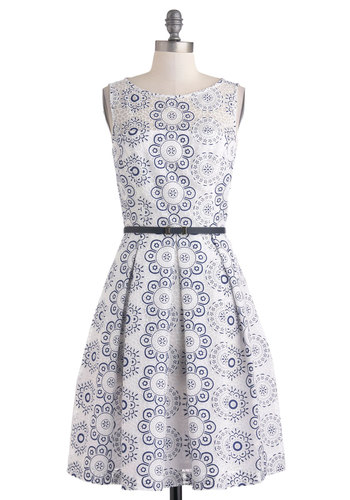 Posh and Circumstance Dress - Sheer, Mid-length, Blue, Floral, Pleats, Belted, Daytime Party, A-line, Sleeveless, Scoop, Pockets, Vintage Inspired, Luxe, Fairytale, Graduation, White