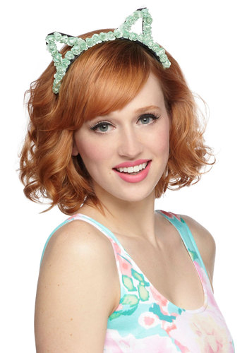 Masquerade Brunch Headband - Mint, Black, Flower, Pastel, Quirky, Solid, Cats