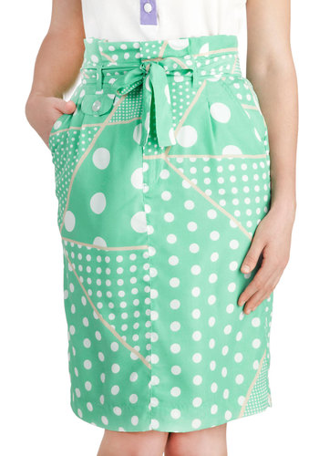 I've Dot All Day Skirt - Mid-length, Mint, Tan / Cream, White, Polka Dots, Work, Pencil, Pockets, Belted, Daytime Party, Pastel, Summer