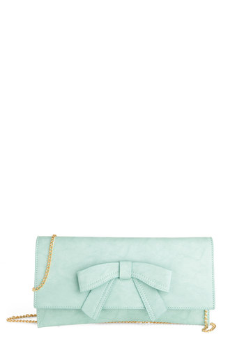 Cobblestone Village Clutch by Melie Bianco - Mint, Solid, Bows, Pastel, Faux Leather, Gold, Chain, Prom, Wedding, Party, Daytime Party