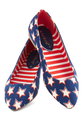 Both Feet on the Playground Flats in Stars - Blue, Red, White, Print, Flat, Novelty Print, Casual, Variation, Quirky