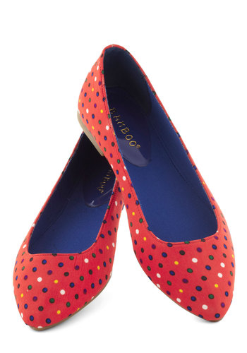 Both Feet on the Playground Flats in Dots - Multi, Polka Dots, Flat, Red, Casual, Variation