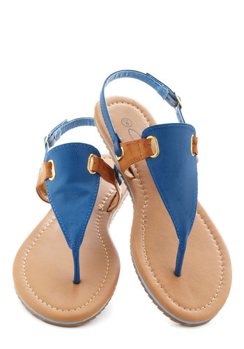All Sun Decked Out Sandal - Blue, Tan / Cream, Beach/Resort, Colorblocking, Flat, Summer, Faux Leather