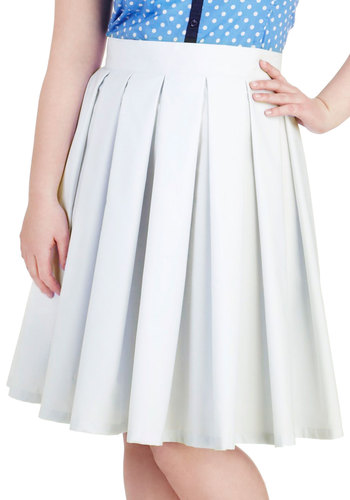 A Classy of Your Own Skirt in Plus Size by Youtheary Khmer - Cotton, Blue, Solid, Pleats, Work, Daytime Party, Vintage Inspired, Pastel, Scholastic/Collegiate, A-line, Spring, Summer