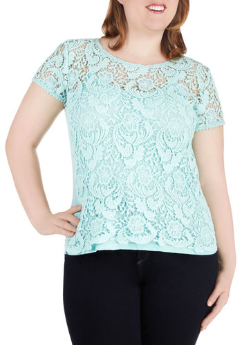 Doily Dose of Charm Top in Plus Size - Pastel, Mint, Lace, Solid, Work, Daytime Party, Short Sleeves