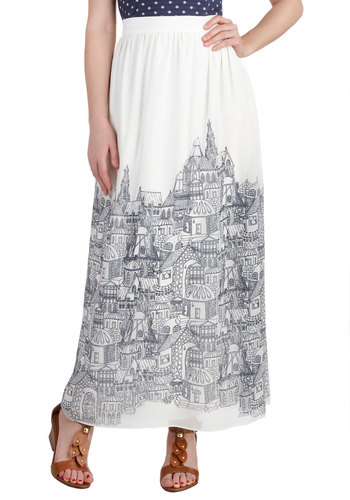 Roof with a View Skirt - White, Black, Novelty Print, Maxi, Long, Casual, Quirky