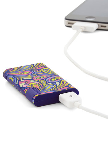 Energy Whiz USB Battery Pack - Purple, Multi, Paisley, Vintage Inspired, 70s, Travel