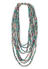 Weave Through the Crowd Scarf - Print, Braided, Tiered, Folk Art, Boho, Multi, Orange, Green, Pink, Statement, Festival