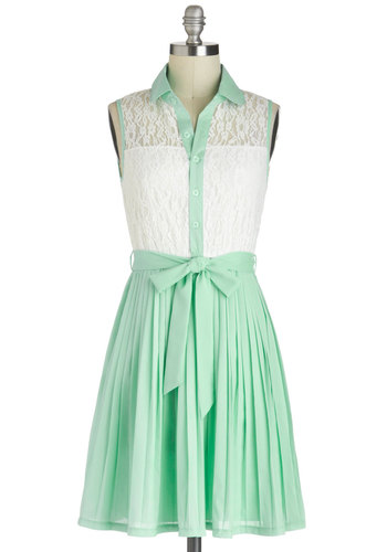 Sincerely Mint Dress - Sheer, Mid-length, Mint, White, Buttons, Lace, Pleats, Belted, Pastel, Shirt Dress, Sleeveless, Collared, Daytime Party, Tis the Season Sale