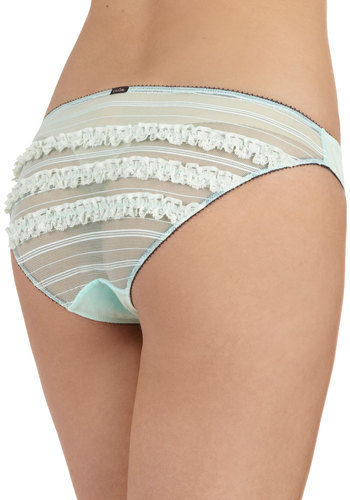 With Drapes Drawn Undies - Blue, Solid, Bows, Ruffles, Trim, Mint, Pastel, Sheer, Boudoir