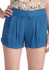 Class in the Courtyard Shorts - Blue, Solid, High Waist, Buttons, Pleats, Casual, Vintage Inspired, 40s, 50s, Summer
