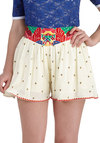 Wave the Best for Last Shorts - Cream, Red, Green, Blue, Tan / Cream, Print, Beach/Resort, Summer, Travel