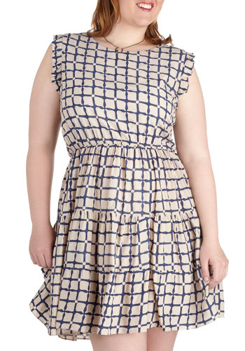 Front Porch Screening Dress in Plus Size - Cream, Blue, Print, Ruffles, Tiered, Party, A-line, Sleeveless, Scoop, Daytime Party