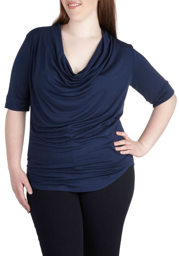 Easygoing Afternoon Top in Navy - Plus Size