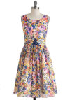 Summer Annuals Dress by Louche - Multi, Floral, Flower, Daytime Party, A-line, Sleeveless, Scoop, Vintage Inspired, 50s, Long