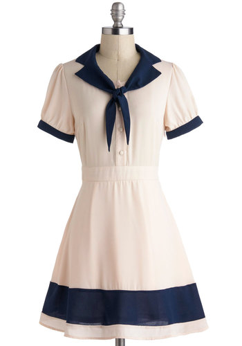 Delight of My Life Dress - Nautical, Cream, Blue, Buttons, Shirt Dress, Short Sleeves, Tie Neck, Casual, Collared, Vintage Inspired, 50s, Sheer, Mid-length, Summer