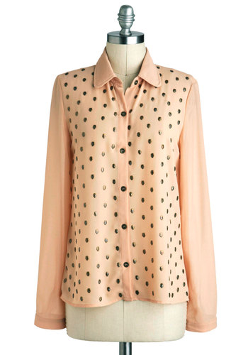 Bare Bones Style Top - Orange, Buttons, Long Sleeve, Sheer, Mid-length, Tan / Cream, Print, Urban