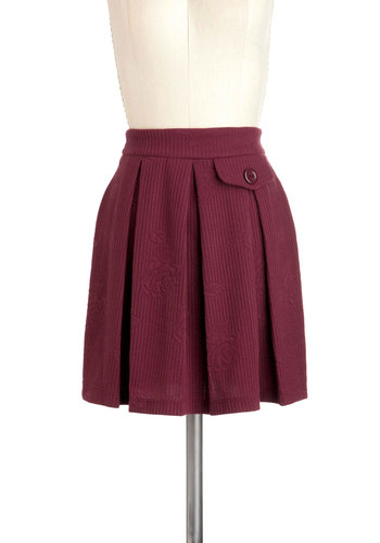 Meet Me at the Mull Skirt - Red, Solid, Pleats, Party, A-line, Short, Work, Casual, Vintage Inspired