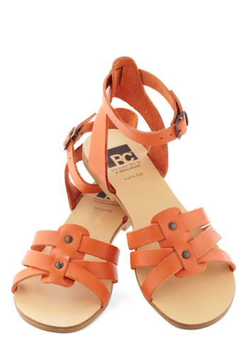 Have You Ever Wandered? Sandal in Orange by BC Footwear - Orange, Solid, Casual, Summer, Flat, Beach/Resort