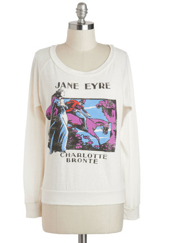 Novel Tee Top in Jane by Out of Print - White, Casual, Long Sleeve, Crew, Multi, Novelty Print, Mid-length