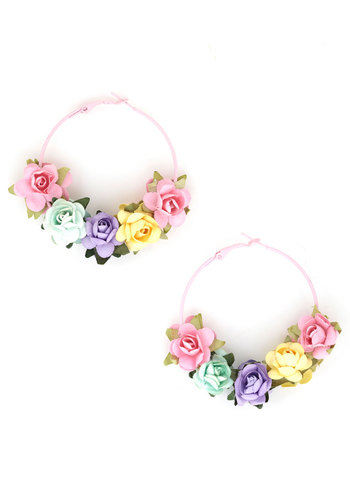 To Wreath Her Own Earrings by Locketship - Pink, Multi, Solid, Flower, Folk Art